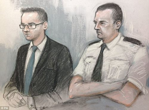 A court artist sketch of Matthew Scully-Hicks: He allegedly carried out the attacks on Elsie while his partner Craig kept working full time as a company director