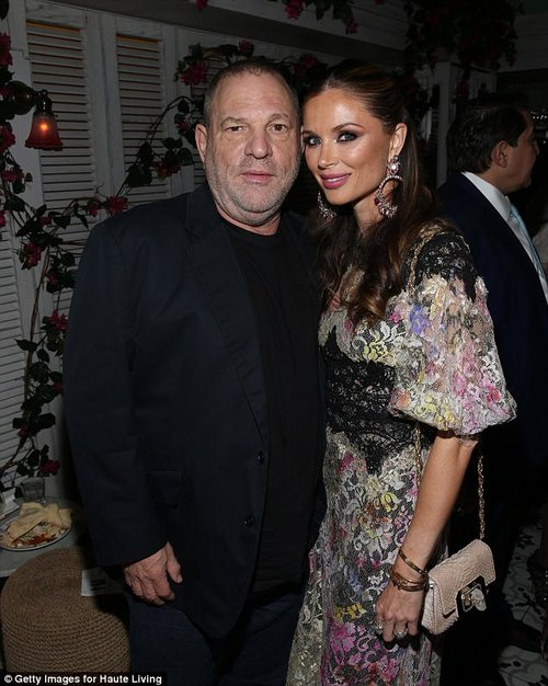 Karan said that she knows Weinstein's wife Georgina Chapman (pictured) and described the couple as 'wonderful people.' The film mogul was fired by his company after he was accused ofsexually hara ssing multiple woman over the span of decades