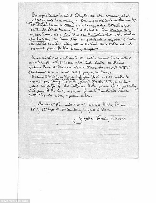 In this note, the former first lady wrote that her son 'doesn't know whether or not (if) he wish to try for law school, but hopes to decide during his years at Brown'