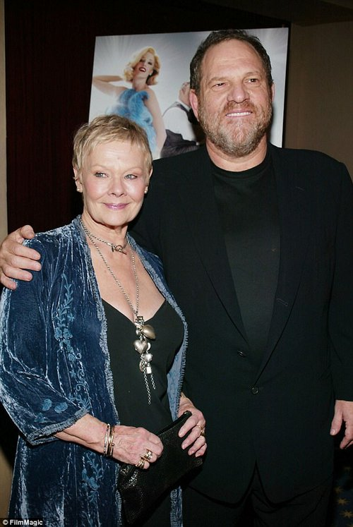 Unaware:Judi Dench (above in 2005 with Weinstein) whose film career was launched by Weinstein, said that she too was unaware of this harassment and that her thoughts were with the victims