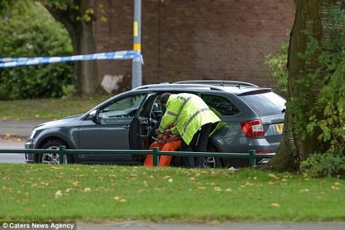 A police officer is pictured talking to the driver of the lorry after a cyclist was crushed in the crash