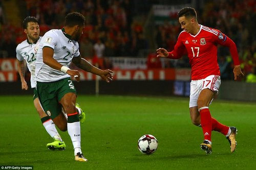 Tom Lawrence, Wales's hero in Georgia, looks to take on Christie as the Welshman goes on one of his meandering runs