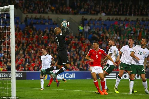 Darren Randolph catches the ball after a cross is whipped in as Wales try and mount an attack and take the lead