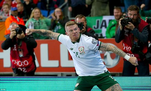 McClean sprints to the fans packed inside the Cardiff arena and slaps his badge before punching the air