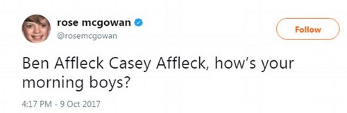 Looking for some goodwill:McGowan also acknowledged a few of Damon's similarly tongue-tied pals, tweeting: 'Ben Affleck Casey Affleck, how¿s your morning boys?'