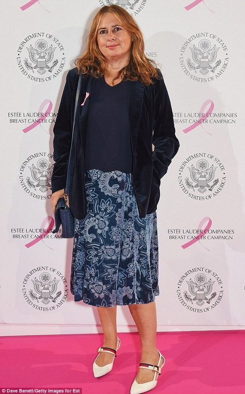 Style icon: Former Vogue editor Alexandra Shulman was sophisticated and stylish in a velvet floral skirt and matching black blazer