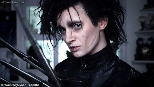 Skilled ar tist: The YouTuber used her make-up skills to turn herself intoEdward Scissorhands