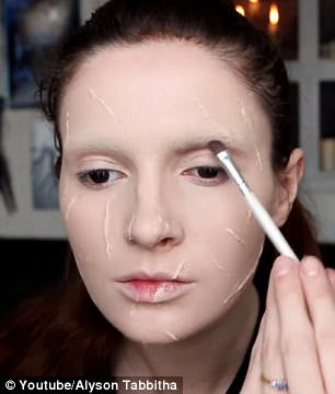 Step by step: Alyson shared a YouTube tutorial showing fans how to do their make-up to look like Edward Scissorhands
