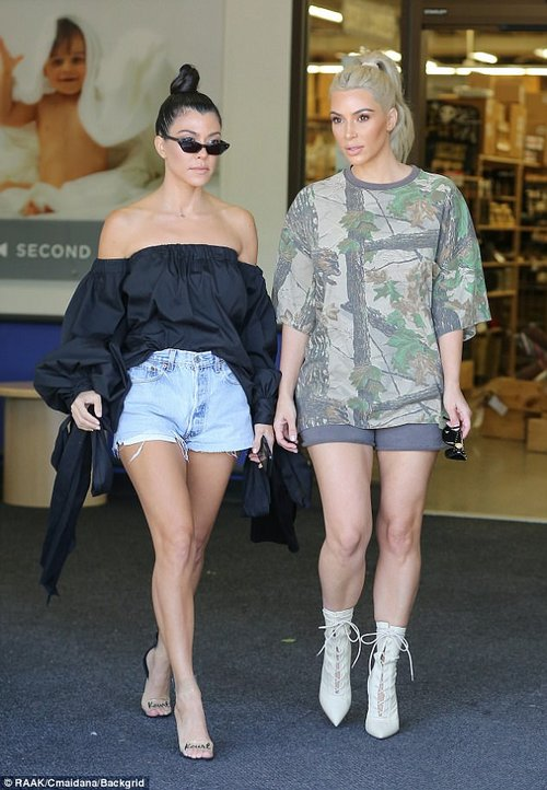 Sister time! She was spotted shopping at a baby store with her sister Kim in Calabasas, California earlier in the day