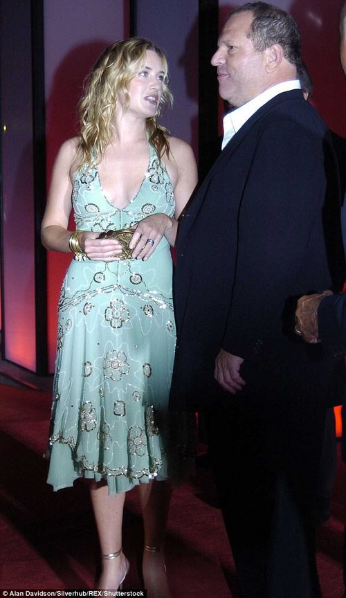 Kate Winslet also came forward on Monday night to say she was aware of the stories and to applaud the bravery of his accusers for coming forward to share such difficult stories. She's pictured with him in 2004 at the Venice Film Festival