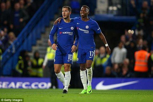 Here Musonda is with another of Chelsea's Belgian contingent, star man Eden Hazard
