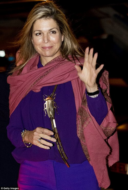 The Queen accessorised her purple outfit with a pink shawl trimmed with gold and an unusual beetle necklace