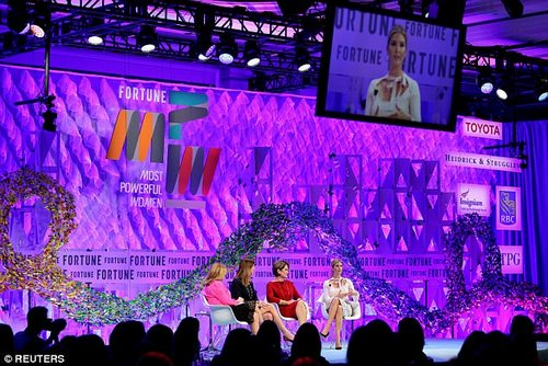 She appeared on a panel at the summit on Monday morning which discussed the future of the American workplace - and spoke alongside Deloitte CEO Cathy Englebert and Lockheed Martin CEO Marillyn Hewson