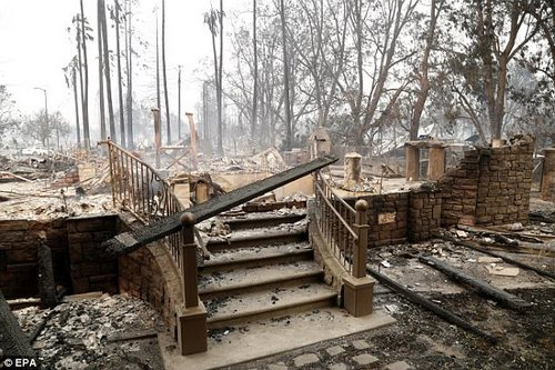 Steps lead up to a destroyed home in Santa Rosa, California on Monday, October 9.Because of strong winds and hot, dry weather, it appears the flames will continue for some time