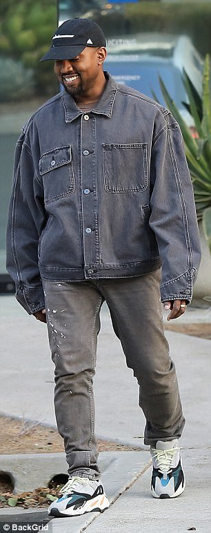 Perfectly imperfect! He paired his vintage-looking jacket paint splattered pants and vintage sneakers