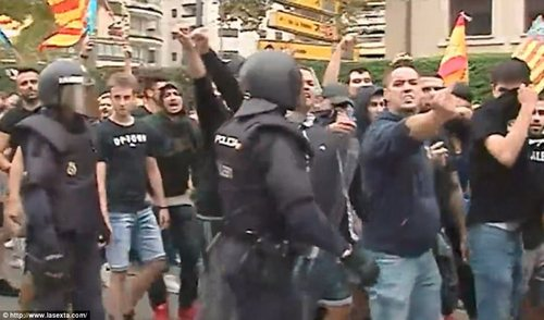 Far right-wing extremists used sticks and batons to assault their victims, who included campaigners on a traditional nationalist march to mark the region¿s national day