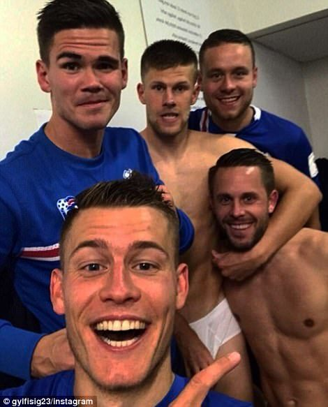 Gylfi Sigurdsson (bottom right) took to Instagram to share a dressing room snap