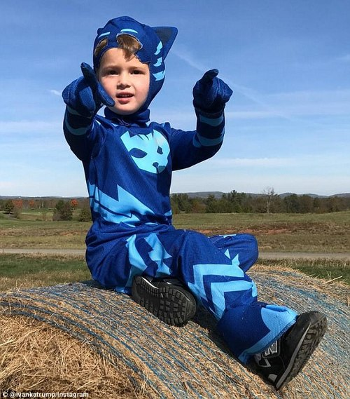 Ready! On Sunday, Ivanka shared this photo of her son Joseph dressed as Catboy, a character in the PJ Masks cartoon series, saying he took it for a 'test drive' before Halloween