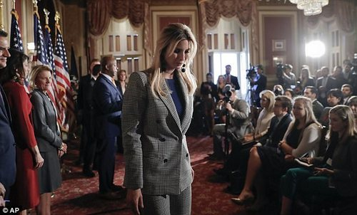 Duties: Ivanka on Wednesdayadviser appeared at a press conference with GOP lawmakers to promote her father's proposed tax plan