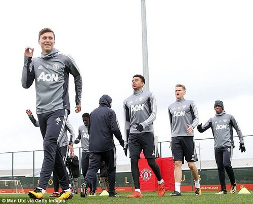 Victor Lindelof was all smiles during the session as the players were put through their paces