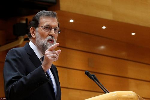 The invocation of Article 155 has resulted in the whole Catalan goverment being dismissed. Pictured: Rajoy speaking to the senate yesterday, urging lawmakers to adopt the measure