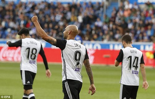 Simone Zaza celebrates after opening the scoring for the visitors in the 34th minute