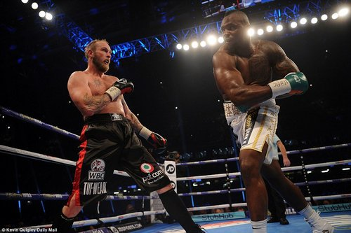 Earlier in the evening Joshua's old rival Dillian Whyte defeated the challenge of RobertHellenious on the undercard