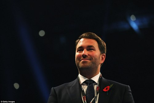Promoter Eddie Hearn made his way to ring side ahead of the headline event getting under way at the Principality Stadium