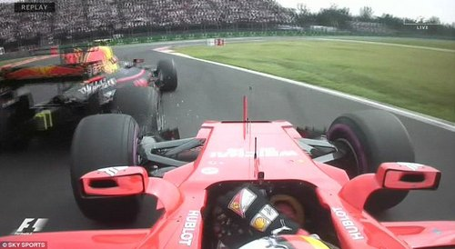 Sebastian Vettel was passed Verstappen into the first corner but lost part of his front wing in the collision