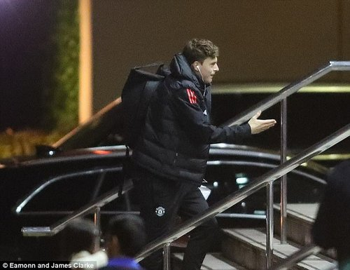 Another familiar face, Victor Lindelof, greets staff waiting outside the Lowry on Monday night