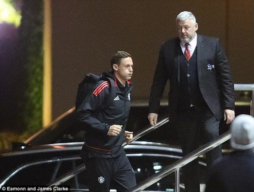 Nemanja Matic was is no mood to hang around as he made his way from the car to the entrance