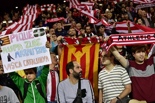 The independence flag of Catalonia is held up at Saturday's La Liga football match between Athletic Bilbao and FC Barcelona