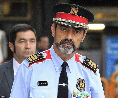 Catalonia's police chief Josep Trapero, pictured earlier this month, was removed from his post at 4am this morning
