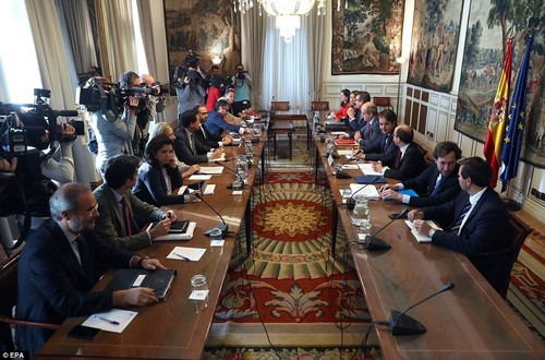 Spanish State Secretaries and undersecretaries attend a meeting at the State Secretary of Land Management to start undertaking their respective duties at the Catalan regional ministries after Madrid imposed direct control over the region