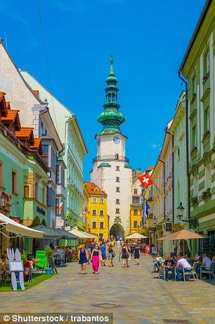 The famous Michalska Tower in central Bratislava