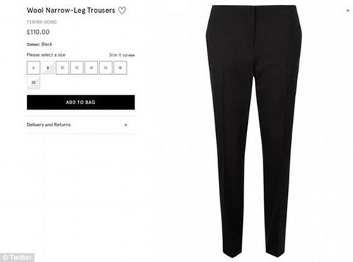 The comment appeared on the brand's website in relation to their £110 Wool Narrow-Leg Trousers, but has since been taken down