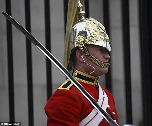 He was spotted at 7.30am today in central London outside the Horse Guards building alongside a Ministry of Defence police officer