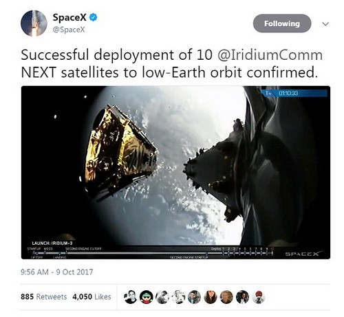 SpaceX launched its Falcon 9 rocket on Monday carrying 10 satellites to bolster the global data communications network for Virginia-based company, Iridium. The white rocket blasted off at 5:37 am (1237 GMT)