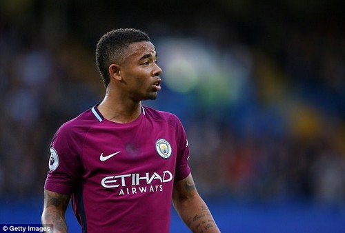 Manchester City and Brazil forward pictured playing against Chelsea at Stamford Bridge