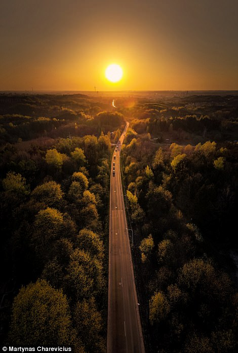 A stunning image of daybreak over the so-called Black Road highway in Vilnius