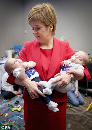 Nicola Sturgeon (pictured at conference yesterday) will outline her vision for 10 more years of SNP rule today but faces party activists against a backdrop of plunging support for independence