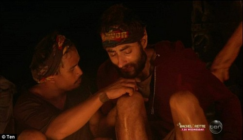 Struggling: With the boys still holding strong, after five hours and 13 minutes, Peter asked host Jonathan LaPaglia to help him step down as he couldn't move