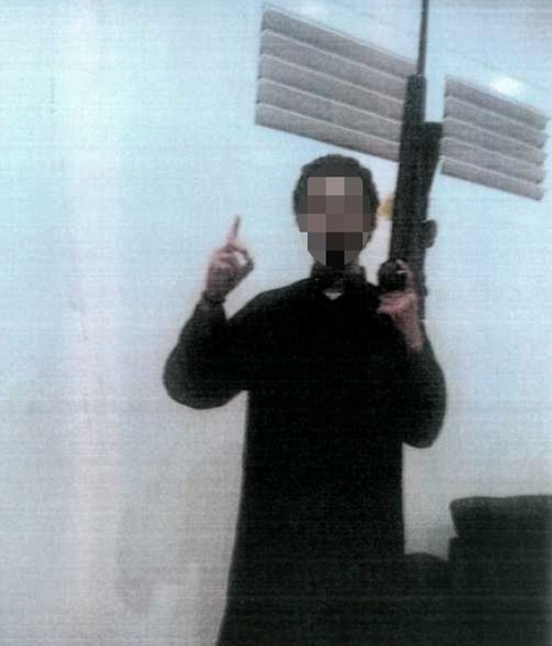 In the photos, the 14-year-old boy can be seen posing as a sniper with weapons he took from his uncle's gun collection
