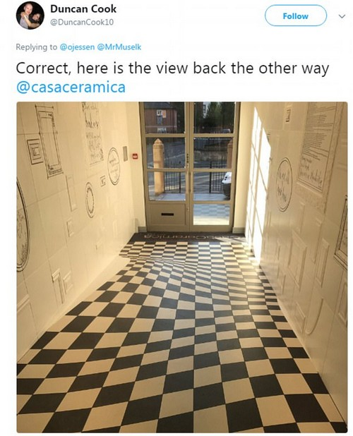 The company's director Duncan Cook shared a different view of the hallway, revealing that the tiles had been made into a curved pattern