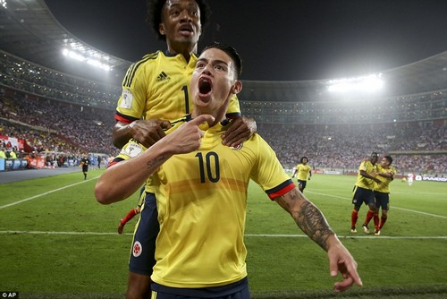 James Rodriguez celebrates after giving Colombia the lead in the second half in Lima