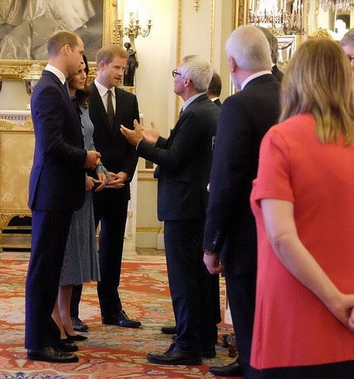 Returning to royal duties: The Duchess of Cambridge joined Prince William and Prince Harry to co-host a Buckingham Palace reception tonight. The mother-to-be wore Temperley London