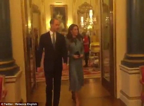 Prince William and the Duchess of Cambridge arrive for the reception tonight