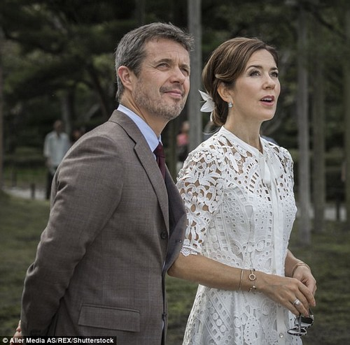 The Crown Princess chose a white lace neck tie dress from Temperley London, a brand favoured by the Duchess of Cambridge