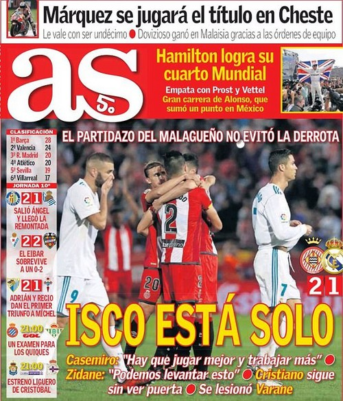 The front page of AS on Monday reflects on Madrid's shock 2-1 defeat in Catalonia