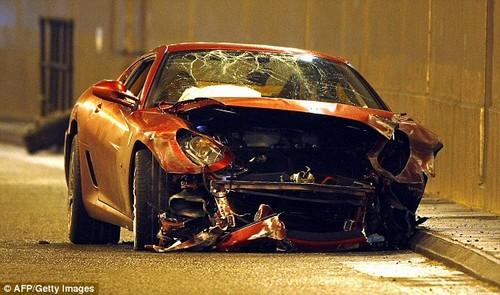 Ronaldo crashed a Ferrari 599 GTB Fiorano in 2009 worth £200,000 - he escaped unhurt
